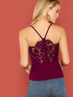 V-Strap Lace Back Peplum Cami Top