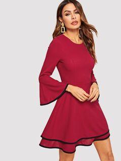 Contrast Binding Bell Sleeve Layered Dress