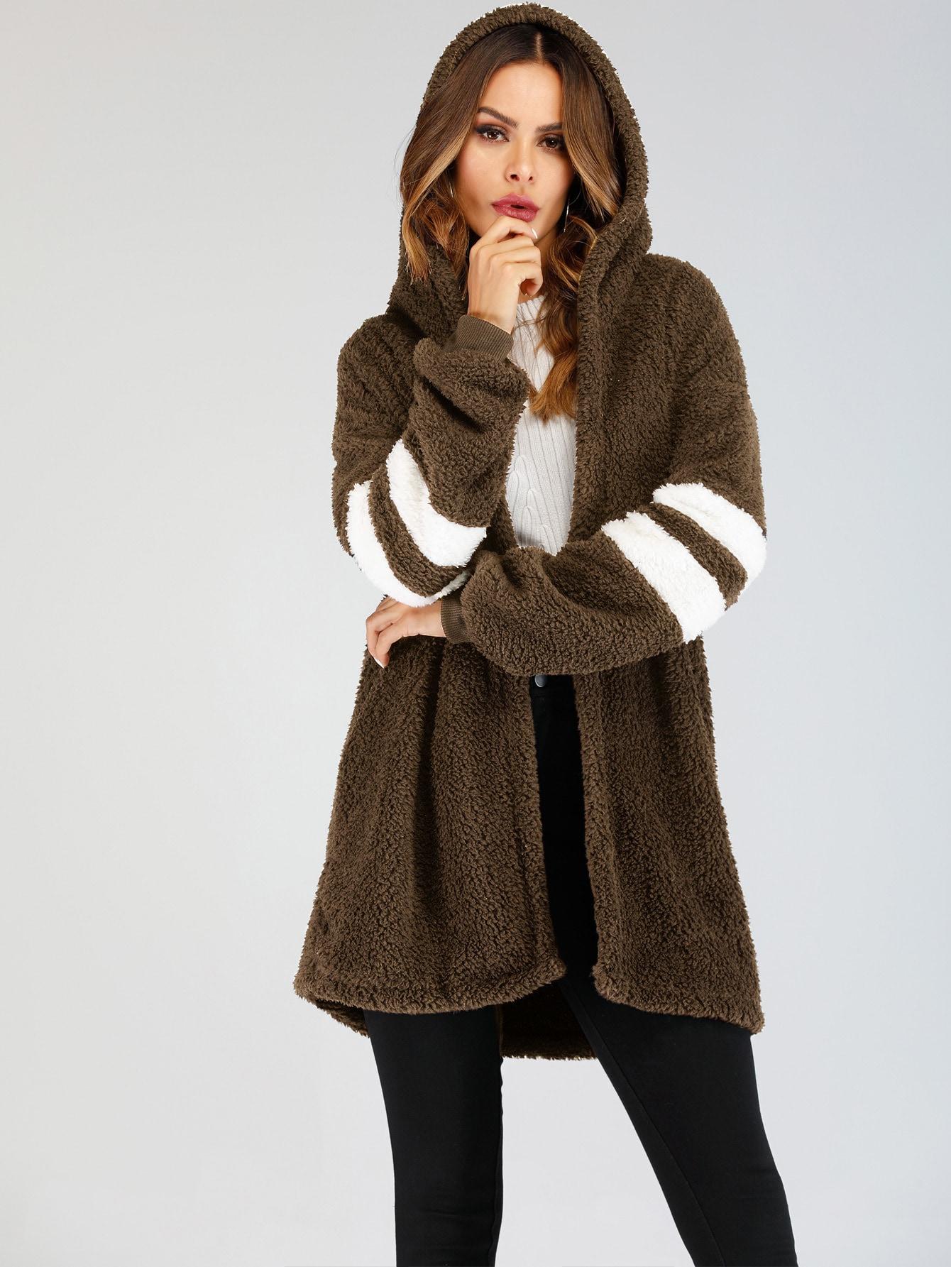 Купить Пушистое пальто с капюшоном и оригинальным рукавом, Andy, SheIn