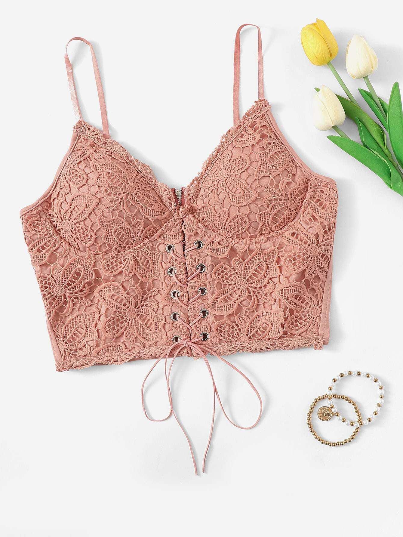 Купить Уличный стиль С простым принтом со шнуровкой розовый Топы и майки, null, SheIn
