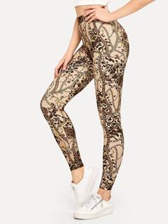 Leopard and Chain Print Leggings