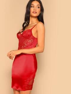 Lace Bodice Underwire Cups Bodycon Mini Dress