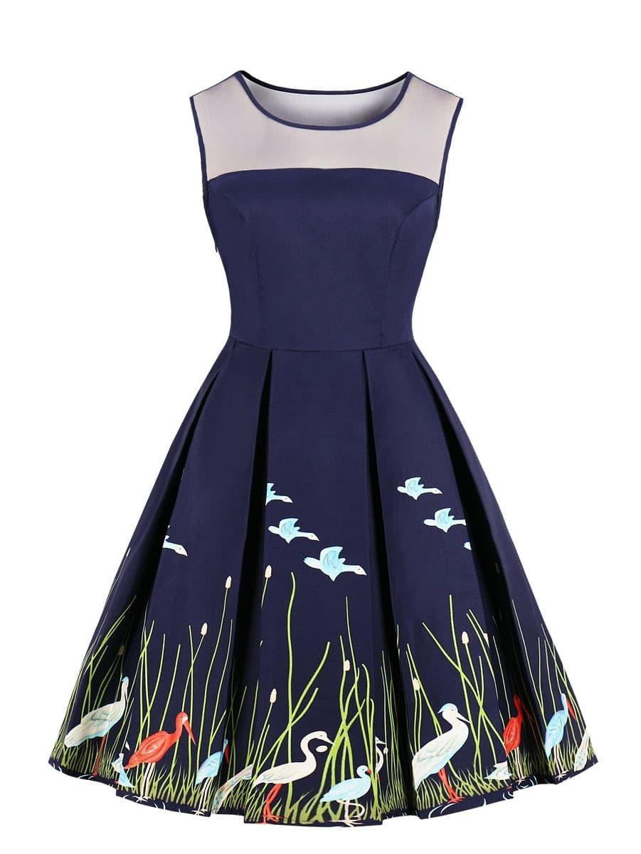 Купить 50s платье-клёш с графическим принтом без рукава, null, SheIn