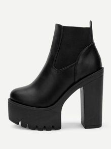 Black Glamorous Plain Chelsea Boots Winter Boots, size features are:Bust: ,Length: ,Sleeve Length: