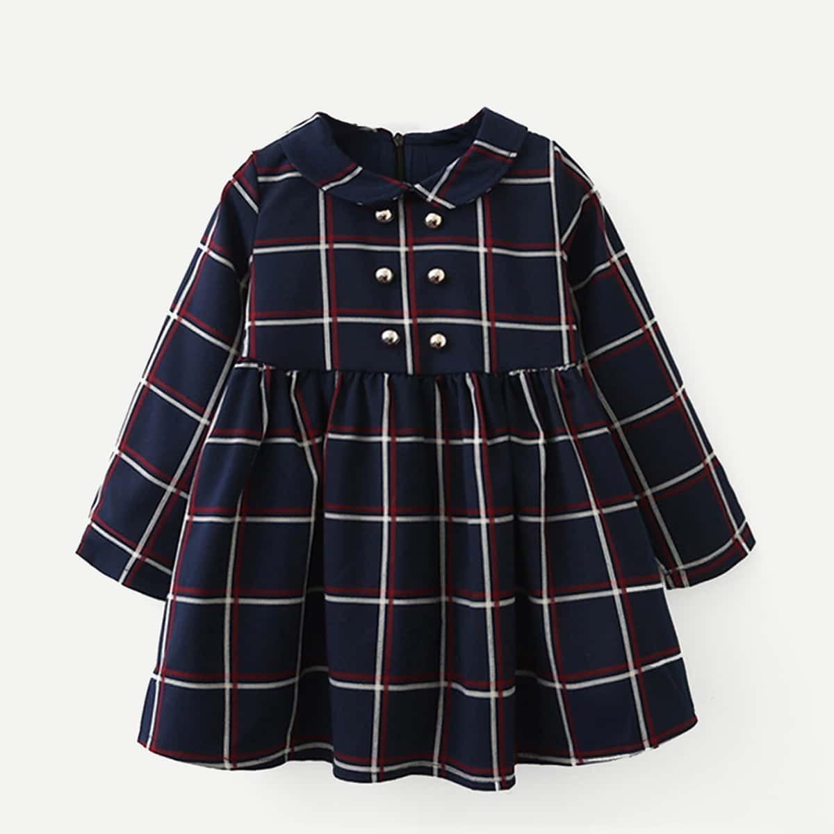 Стильное платье в клетку на молнии для маленьких девочек от SHEIN