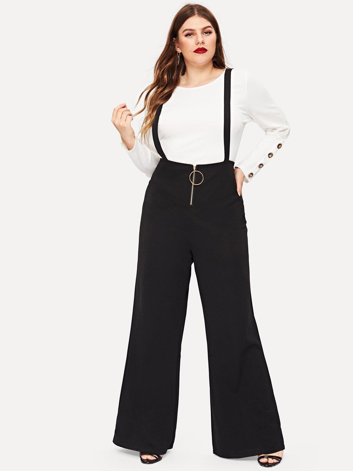 大尺碼 單色 前面拉鍊式 圍裙 褲