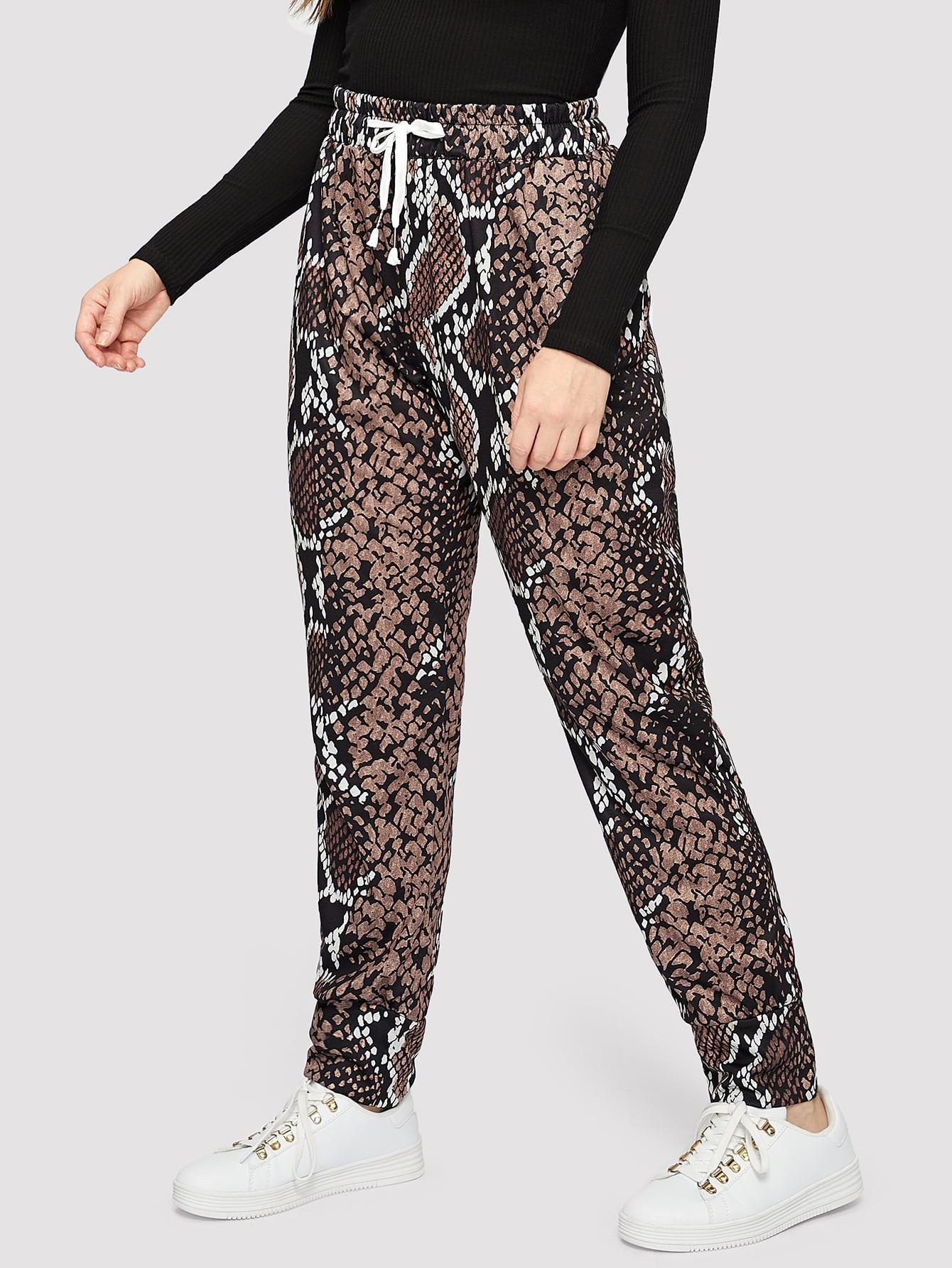 Купить Размера плюс брюки с кулиской и змеиным принтом, Isabela, SheIn