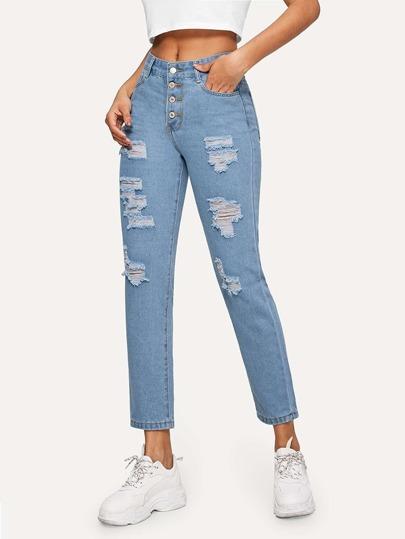cc5ad6a1205ae سروال جينز بأزرار وممزق