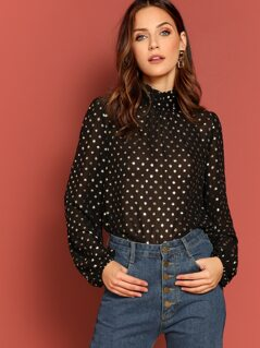 Gold Print Mock-neck Sheer Top