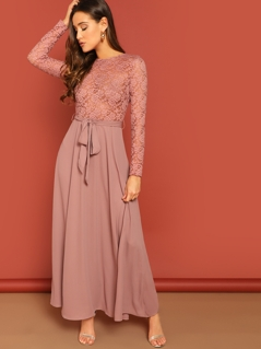 Sheer Lace Insert Belted Fit & Flare Dress
