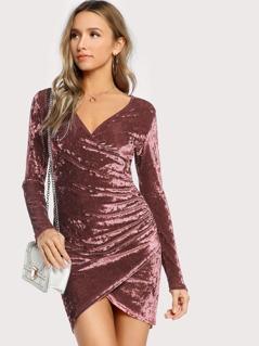 Surplice Neck Ruched Detail Velvet Dress
