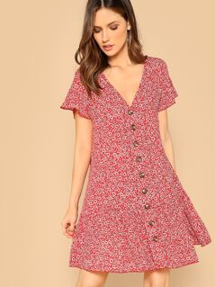 V Neck Button Front Floral Print Shirt Dress