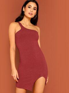 One Shoulder Ribbed Knit Split Dress