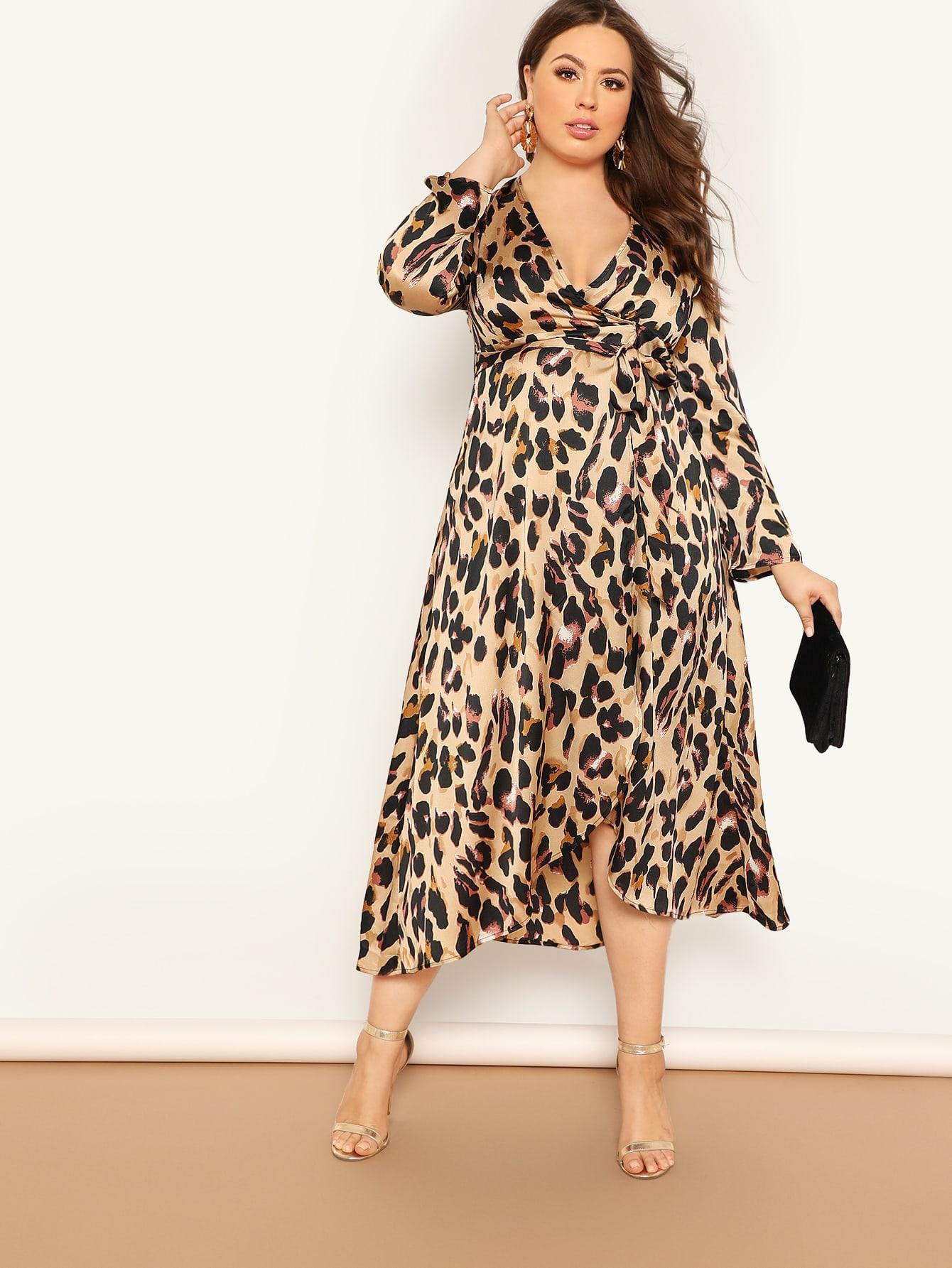 Купить Размер плюс леопардовое платье на запах с глубоким V-образным вырезом, Bailey Carr, SheIn