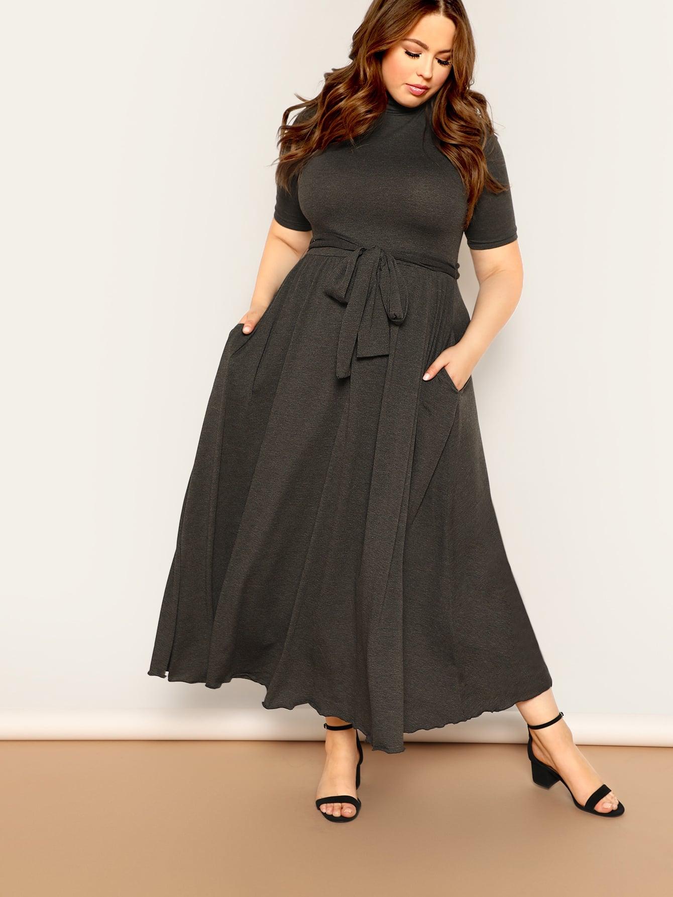 Купить Размер плюс расклешенное платье с высоким воротником и карманом, Bailey Carr, SheIn