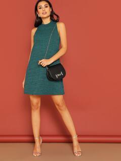 Textured Knit Trapeze Dress