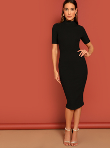 High Neck Rib Pencil Dress