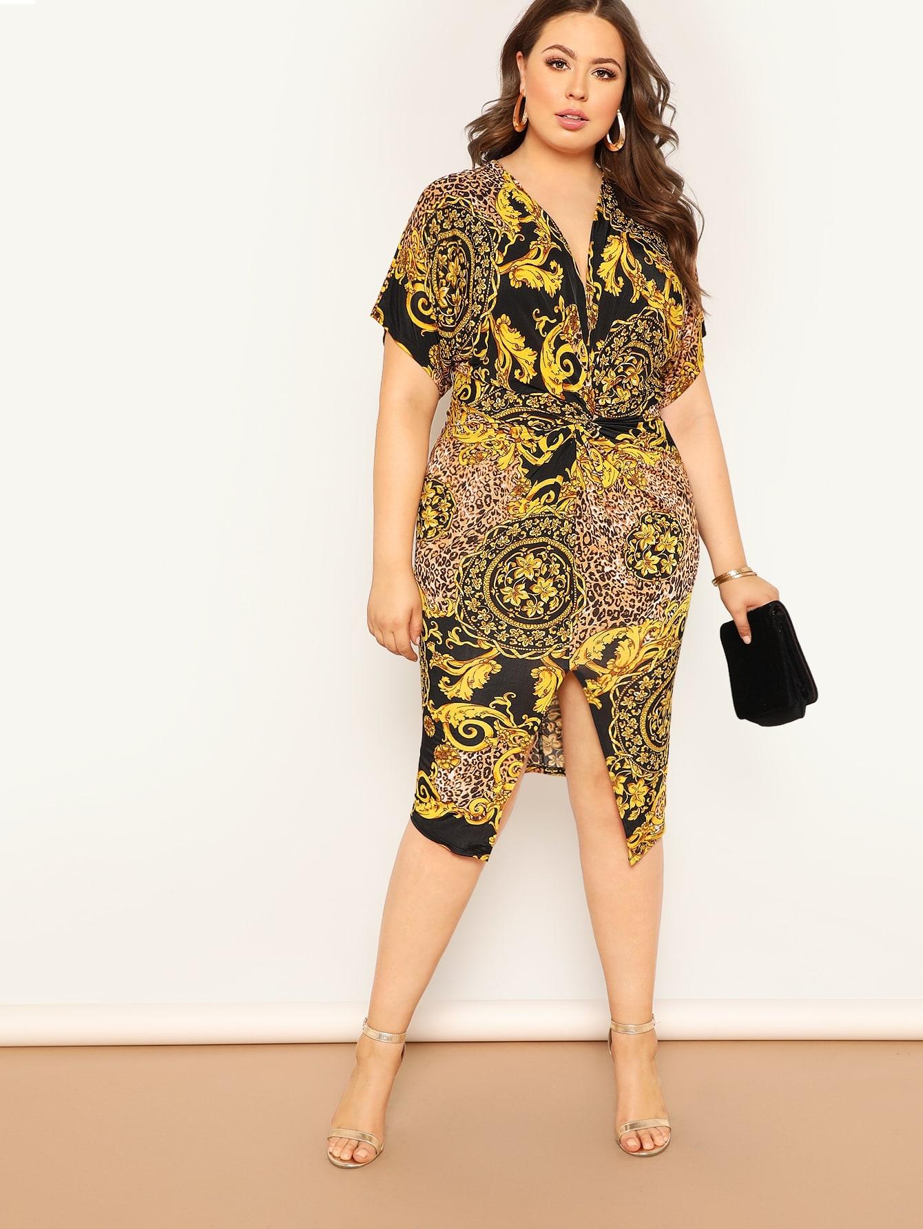 Размер плюс платье с разрезом и графическим принтом и витой