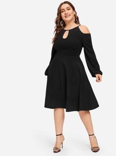 Plus Cold Shoulder Cutout Solid Dress