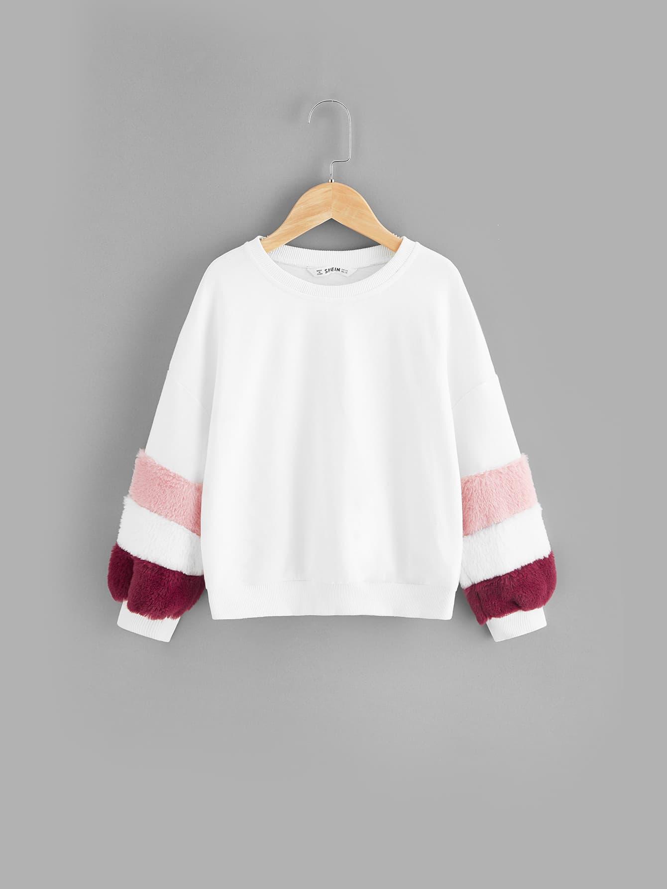 Купить Контрастный пуловер с заниженной линией плеч и рукавом искусственного меха для девочек, null, SheIn