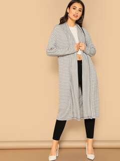 Shawl Collar Striped Jersey Duster Coat