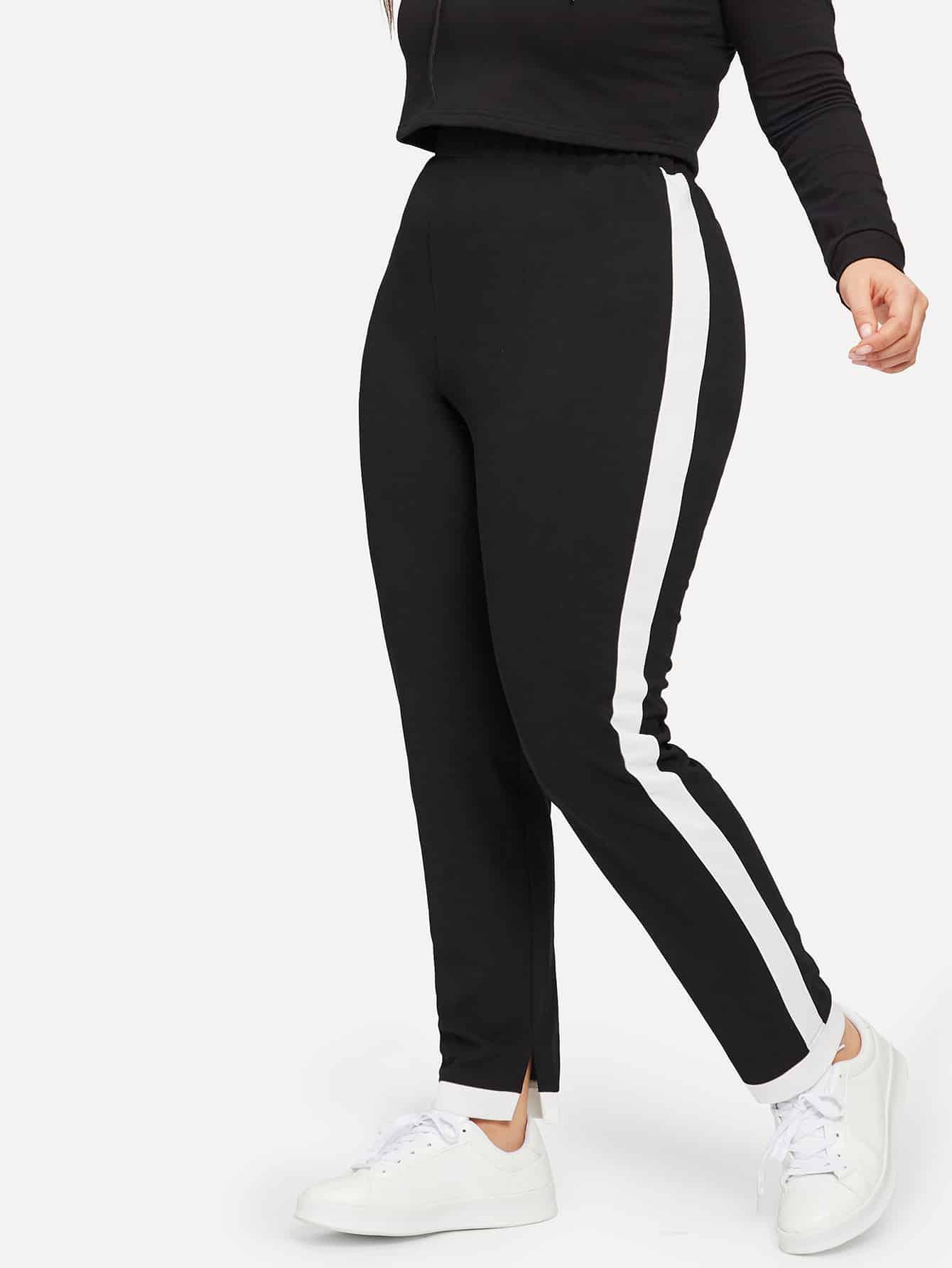 Купить Контрастные брюки с эластичной талией размера плюс, Isabela, SheIn