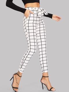 Tied Waist Grid Print Skinny Pants