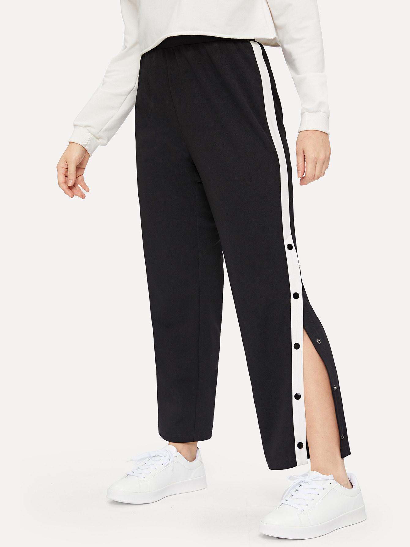 Купить Размер плюс контрастные брюки с пуговицами, Isabela, SheIn