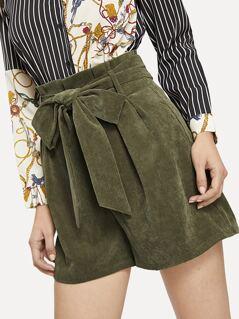 Paperbag Waist Wide Leg Corduroy Short With Belt