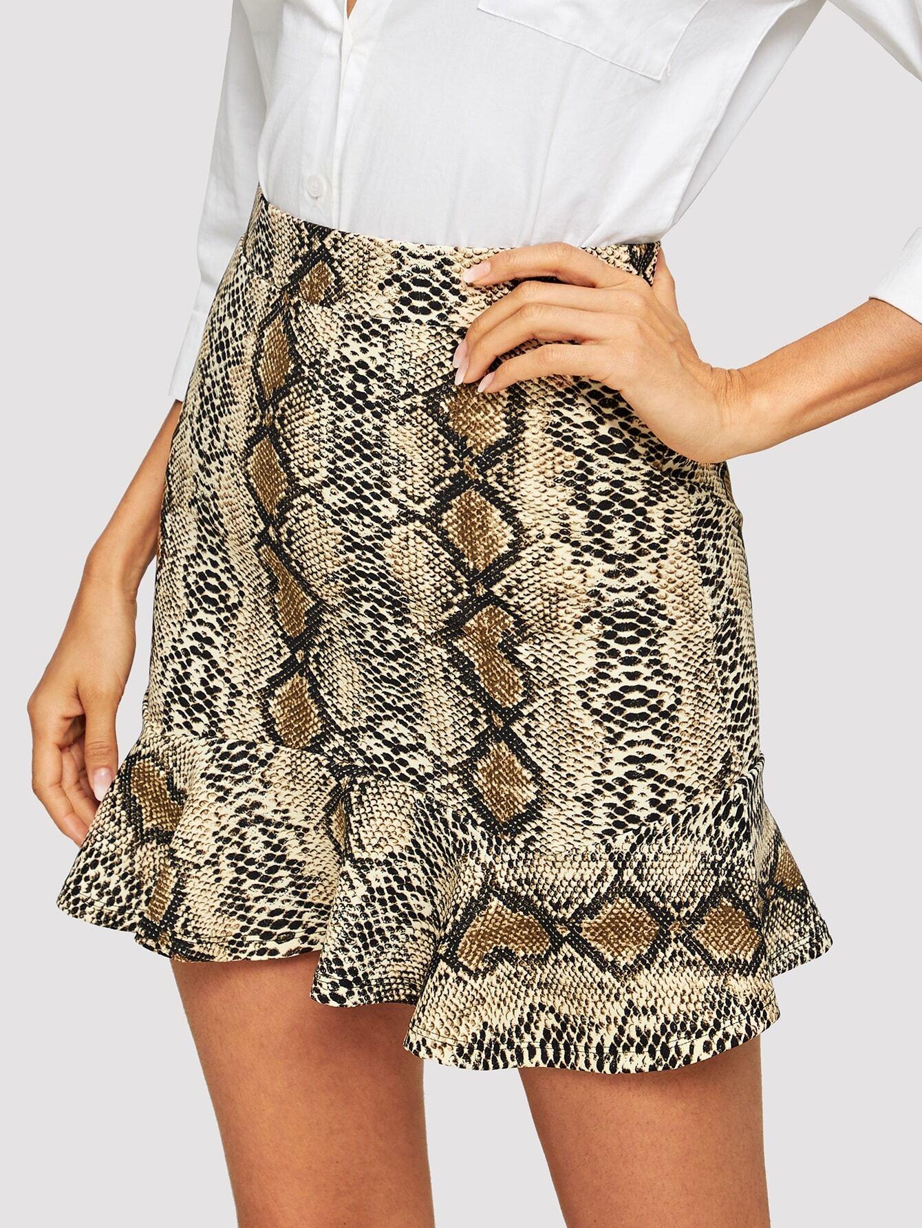 Купить Стильная юбка с оборками и змеиным принтом, Andy, SheIn