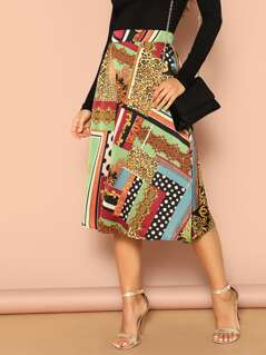 Scarf Print A-line Skirt