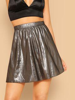 Metallic Flare Skirt