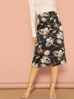 Zip Back Chain Print Skirt