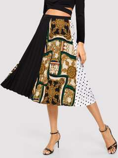 Cut-and-sew Scarf Print Pleated Skirt