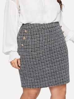 Plus Gold Button Tweed Skirt
