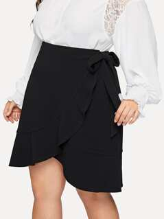 Plus Asymmetrical Ruffle Wrap Knotted Skirt