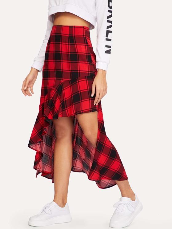 bd47c31cf9 Asymmetrical Ruffle Hem Plaid Skirt | MakeMeChic.COM