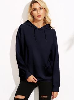 Drop Shoulder Hoodie With Kangaroo Pocket