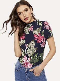 Mock Neck Fitted Tropical Top