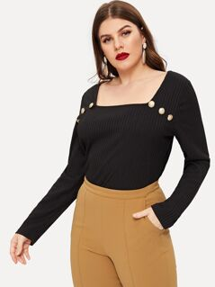 Plus Button Detail Ribbed Knit Square Neck Top