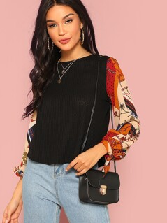 Scarf Print Knotted Sleeve Mixed Media Top