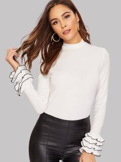 Mock Neck Keyhole Back Layered Cuff Top