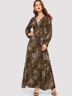 Wrap Front Leopard Print Dress