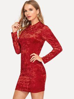 Mock Neck Crushed Velvet Dress