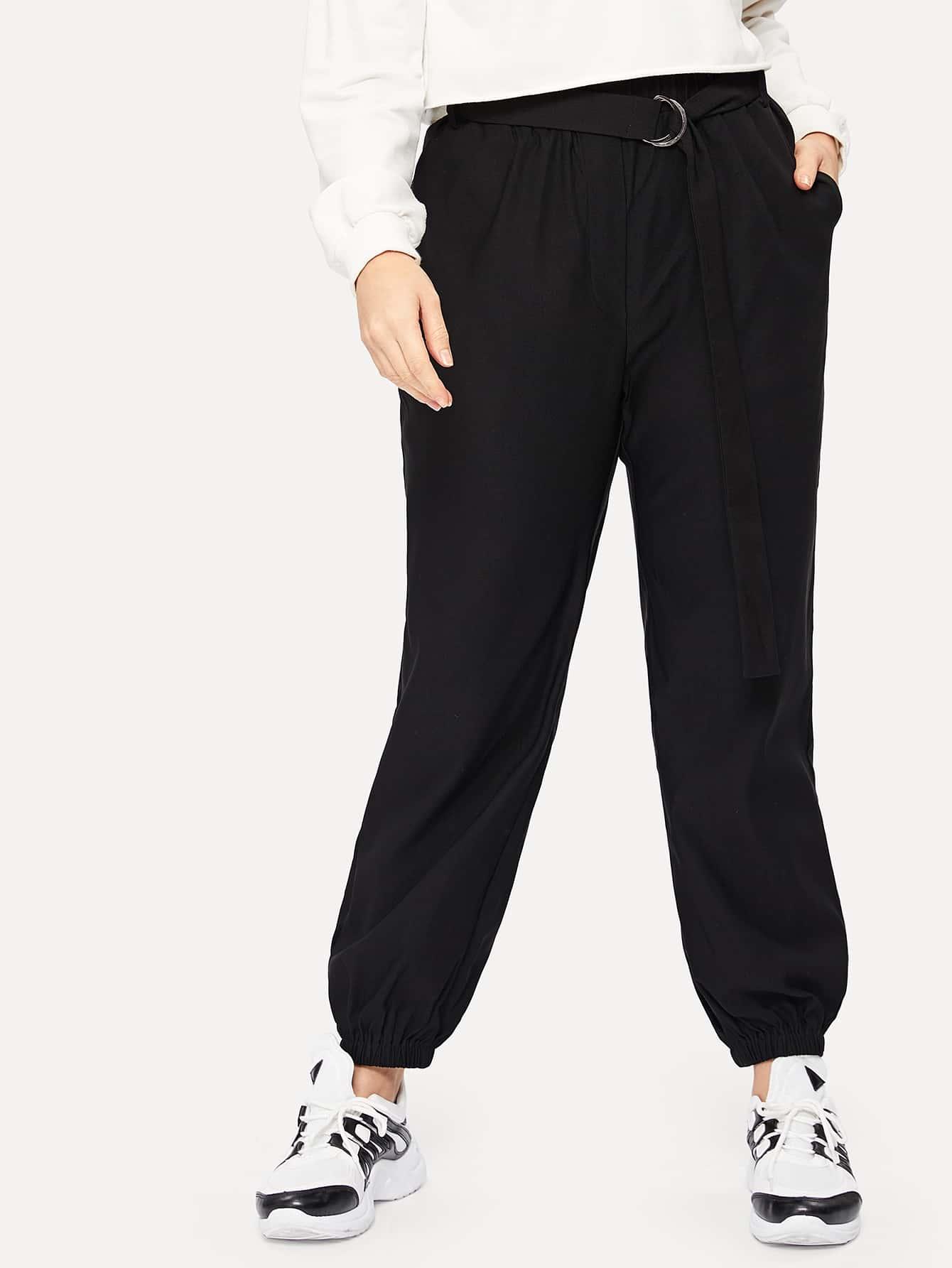 Купить Размер плюс брюки с поясом и упругой талией, Isabela, SheIn