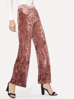 Wide Leg Crushed Velvet Pants