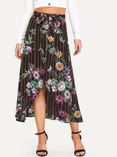 Stripe & Flower Print Overlap Belted Skirt