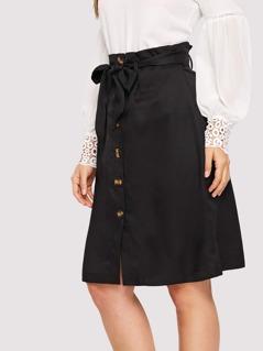 Paperbag Waist Button Up Skirt With Belt