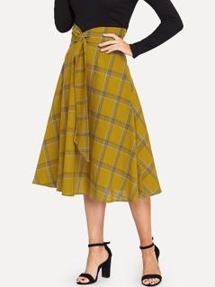 Wrap Wide Waistband Plaid Skirt