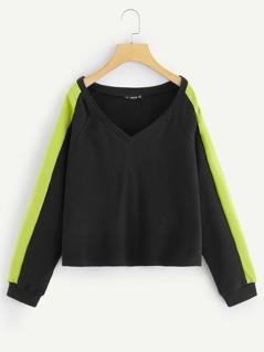 Raglan Sleeve Two Tone Pullover